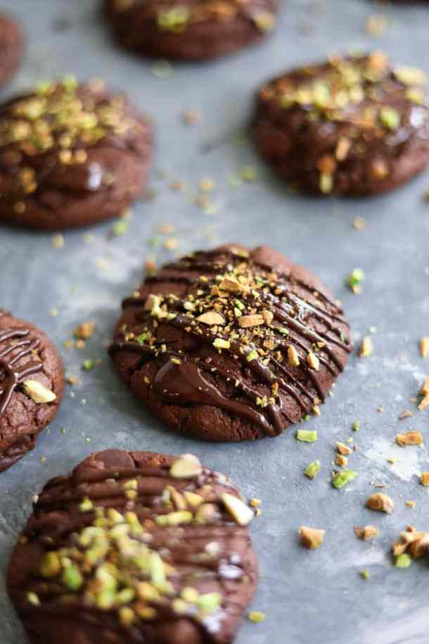 Salted Triple Chocolate Pistachio Cookies