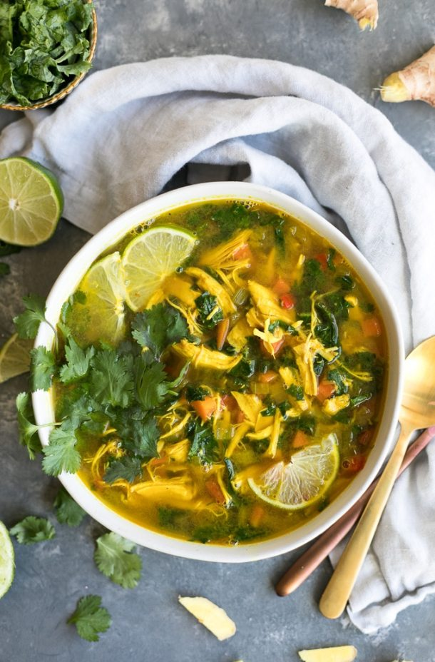 Thai Ginger Turmeric Kale Chicken Soup