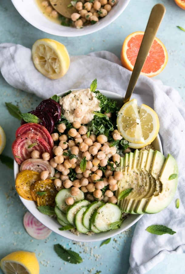 Glow Bowls with Citrus Mint Marinated Chickpeas, Kale, and Roasted Beets