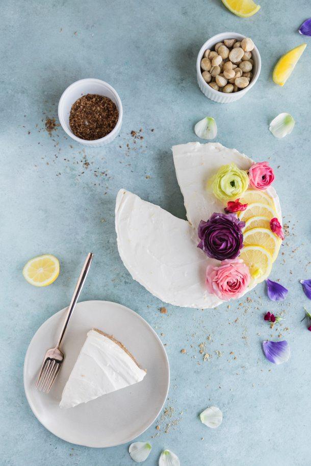 No-Bake Lemon Cheesecake Mousse Pie with Coconut Macadamia Crust