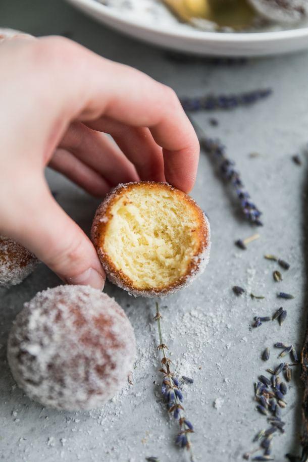 Ricotta Doughnuts with Lavender Vanilla Sugar
