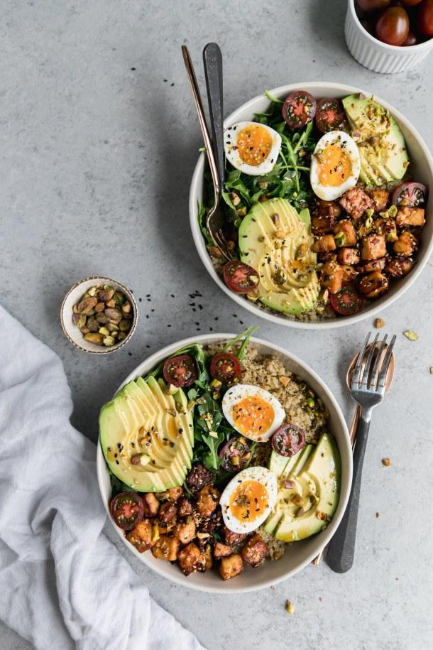 Quinoa Bowls with Sesame Tofu, Avocado, and Pistachios
