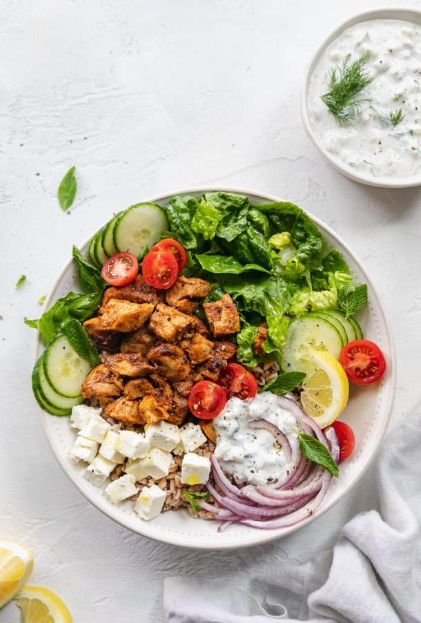 Overhead shot of a chicken shawarma bowl