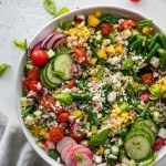 Overhead shot of a colorful grain salad