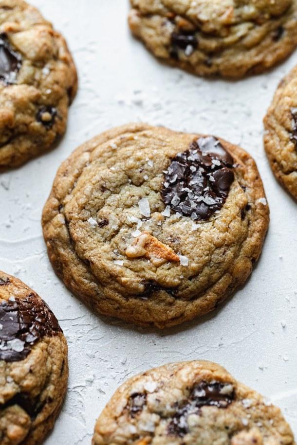 Close up shot of a mango dark chocolate chunk cookie