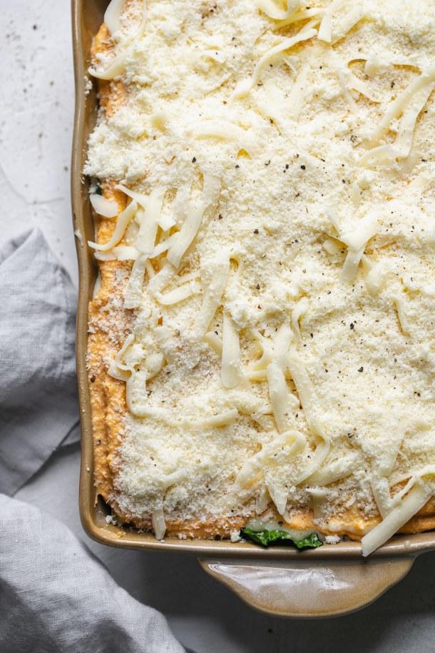 Overhead shot of a lasagna before baking