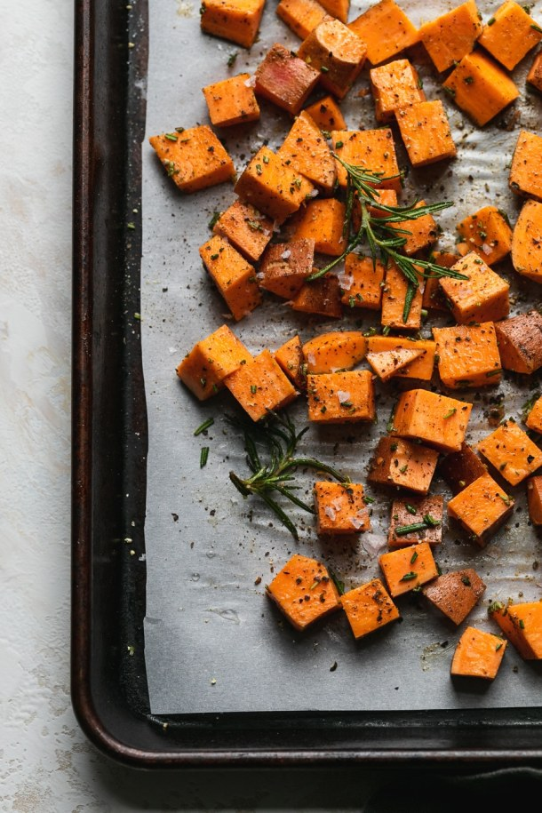 Overhead shot of diced sweet potatoes before roasting