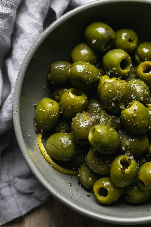 Close up shot of a bowl of olives