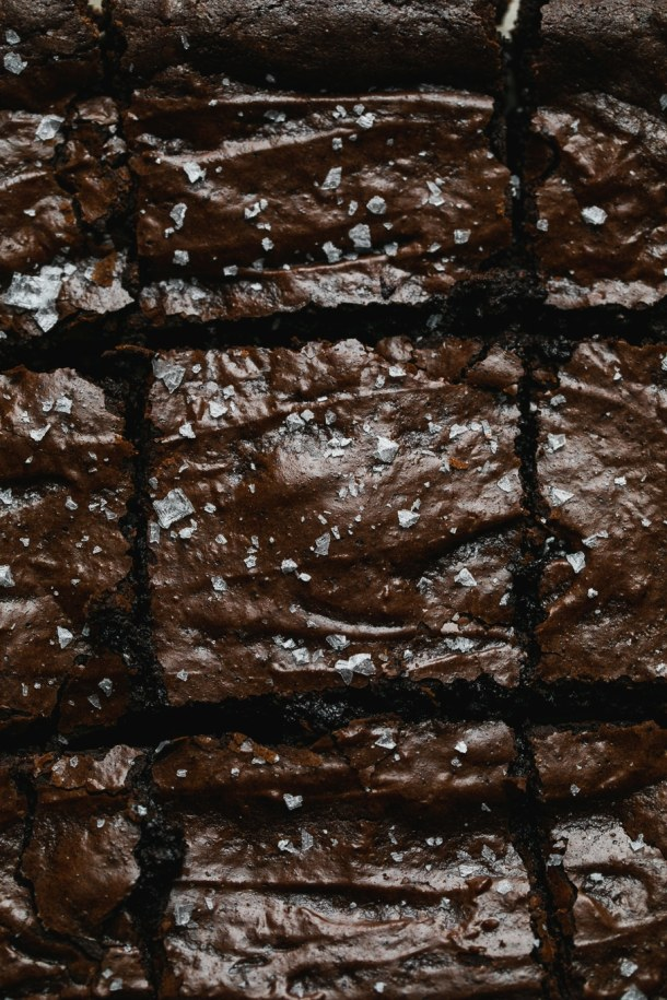 Super close up shot of brownies cut into squares
