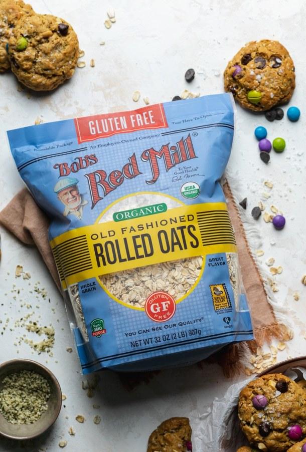 Overhead shot of a bag of oats