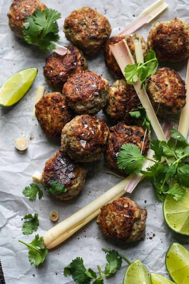 Overhead shot of lemongrass meatballs with cilantro and lime
