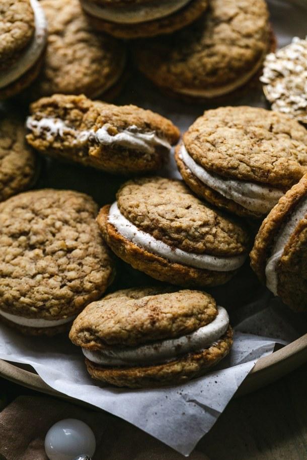 Close up shot of sandwich cookies