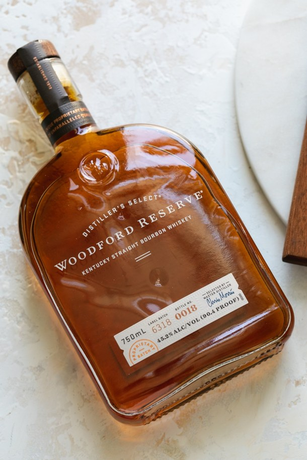 Overhead close up shot of a bottle of Woodford Reserve bourbon