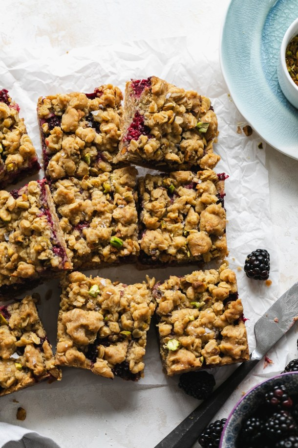 Overhead shot of oat crumble squares