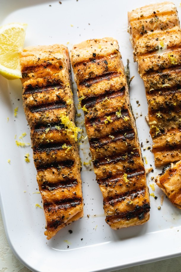 Overhead close up shot of grilled salmon fillets