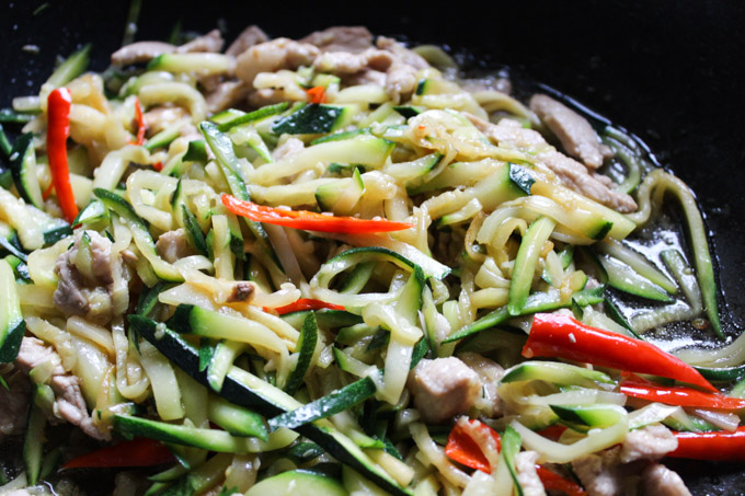 stir fried pork and zucchini