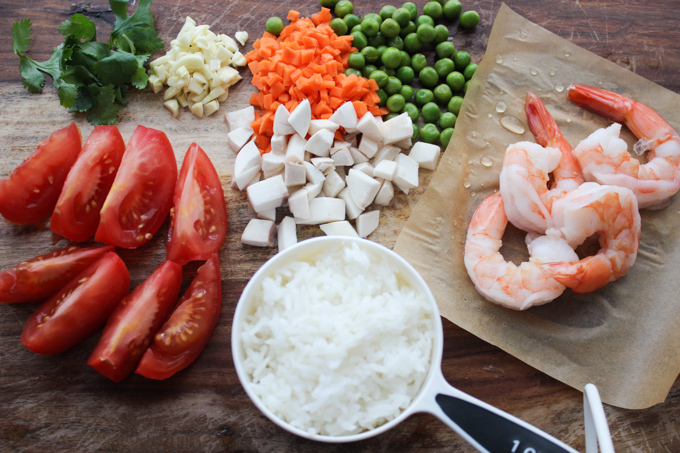 Shrimp Simmered Rice Ingredients