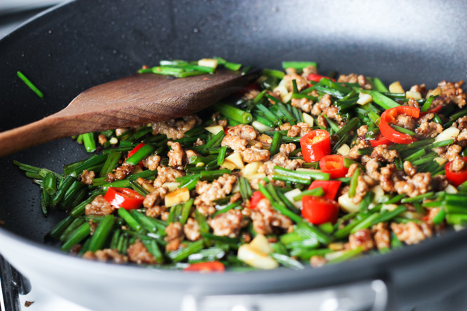 Stir fry Chive and Ground Pork