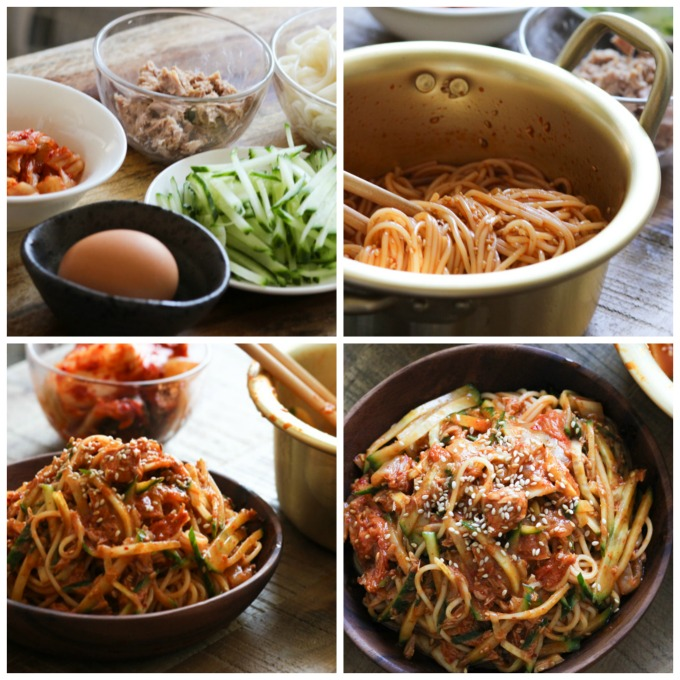 How to Make Cold Noodles with Tuna and Kimchi