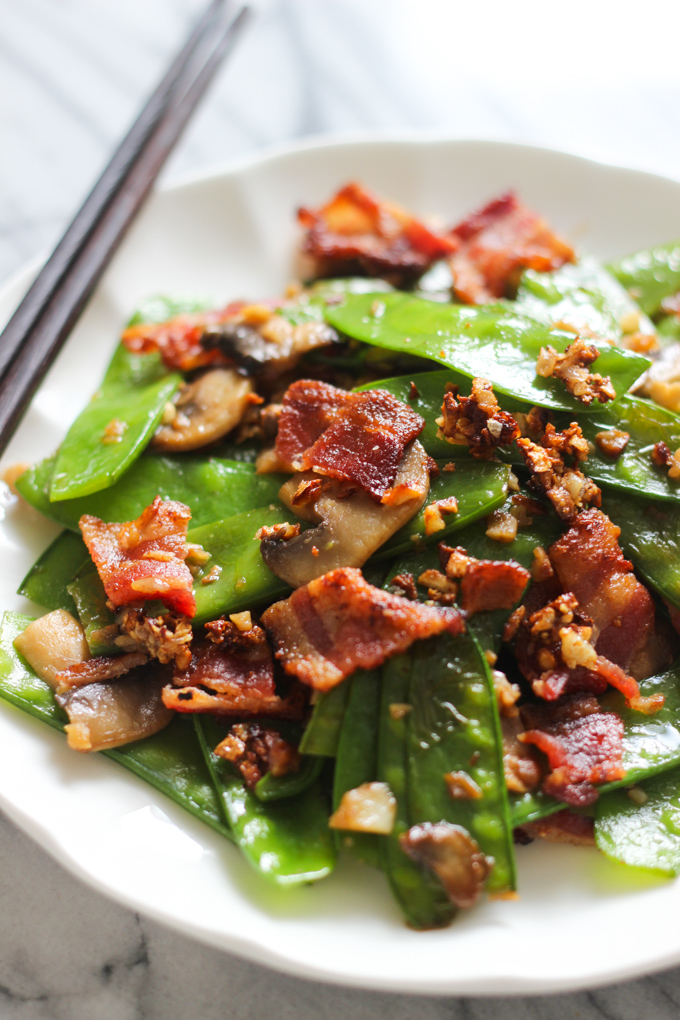 bacon with snow peas image