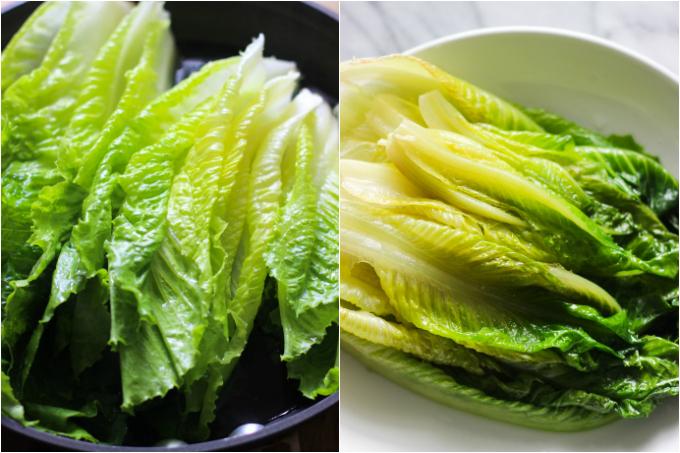 garlic sauce romaine lettuce step one