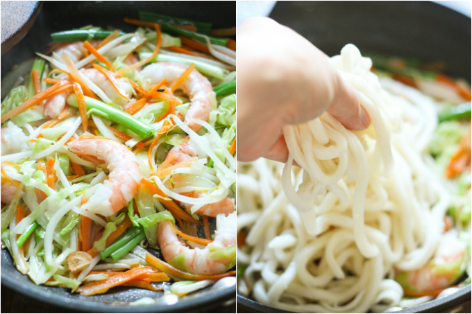stir-fried udon with shrimp step two
