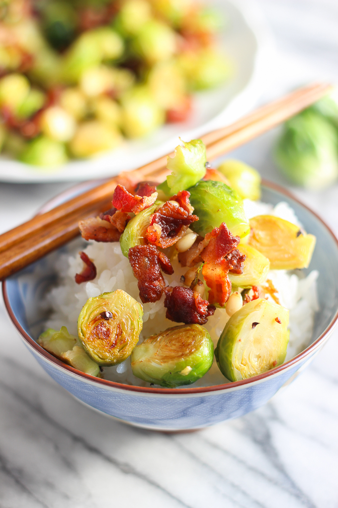 Bacon with Brussels sprouts in a bowl