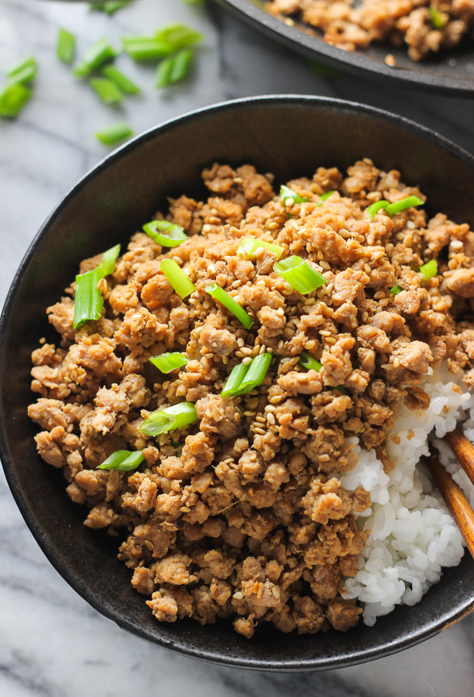 ginger minced pork rice bowl  spice the plate