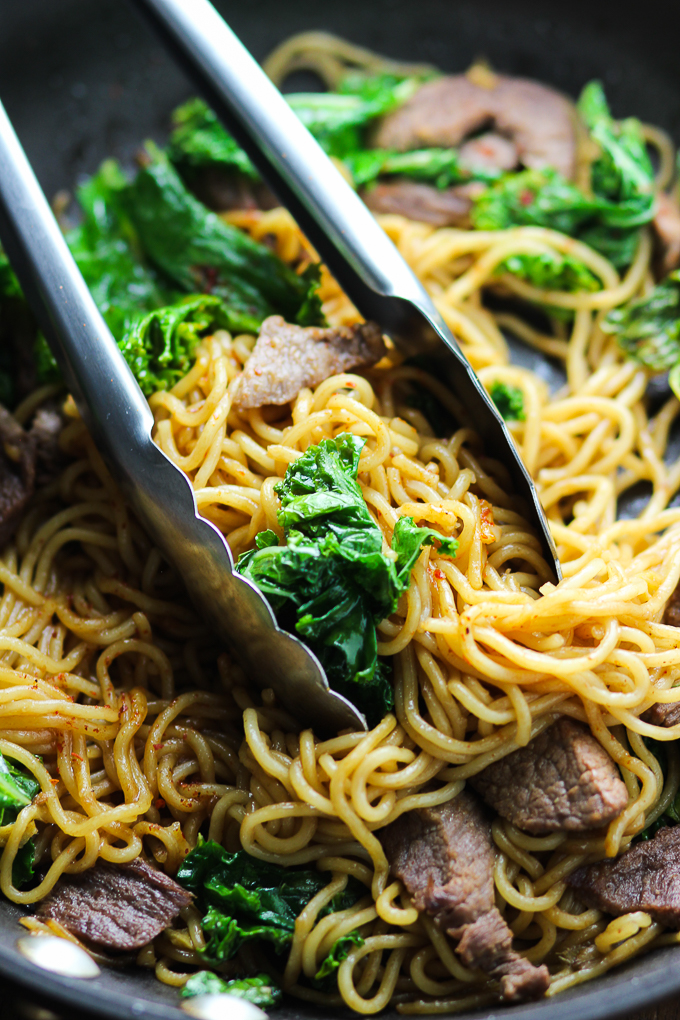 Beef And Kale Stir Fried Noodles Spice The Plate