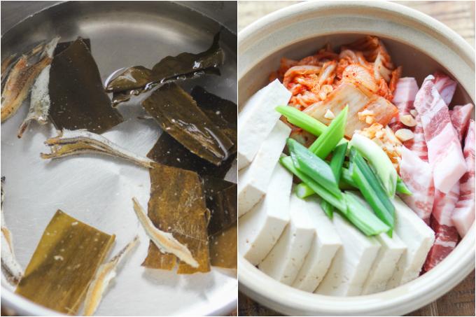 Pork Belly Kimchi Stew Step One