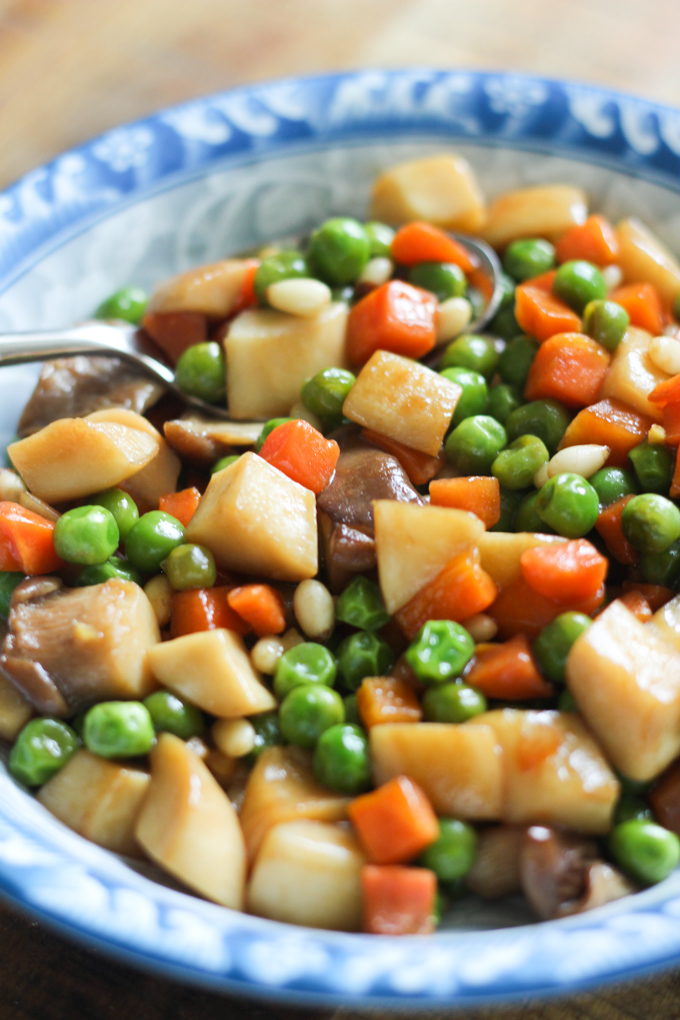 Sautéed Carrots, Peas and Mushrooms
