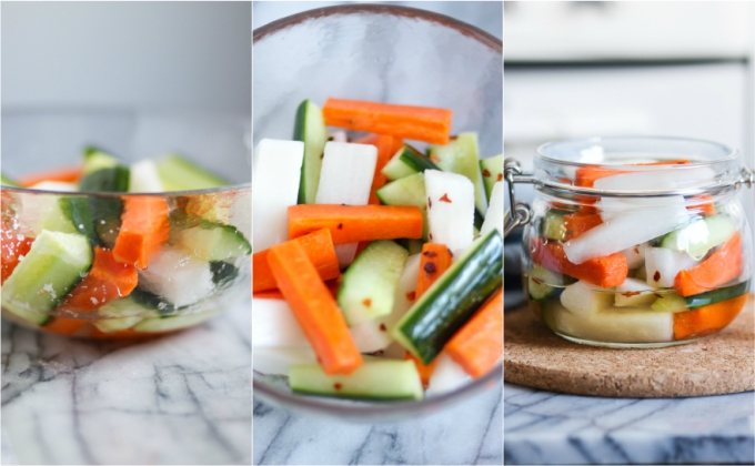 How to make pickled daikon, carrot and cucumber
