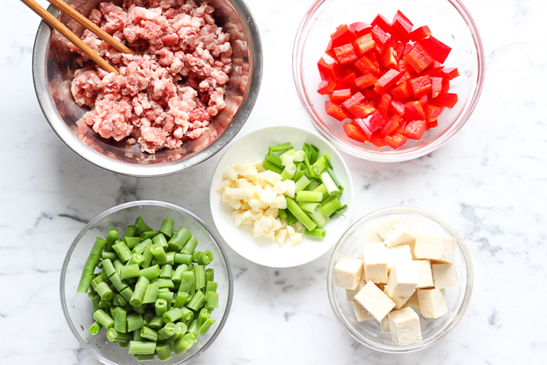 Green Bean and Tofu with Ground Pork Stir Fry-Ingredients