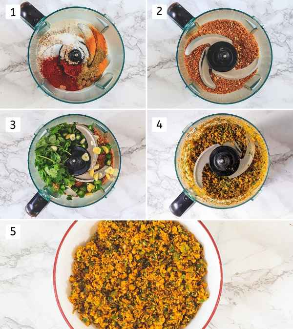 Collage of 5 steps showing adding nuts, spices in processor, make coarse powder, add rest stuff, pulse again, removed to a bowl.