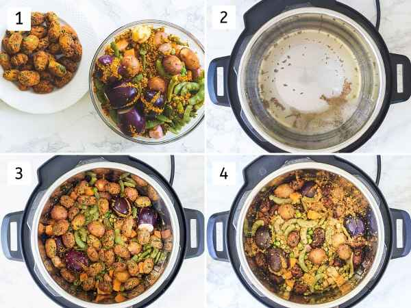 Collage of 4 steps showing veggies and muthia, tempering in instant pot, adding veggies, cooked undhiyu.