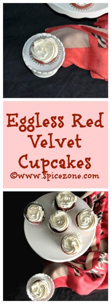 Eggless Red Velvet Cupcakes