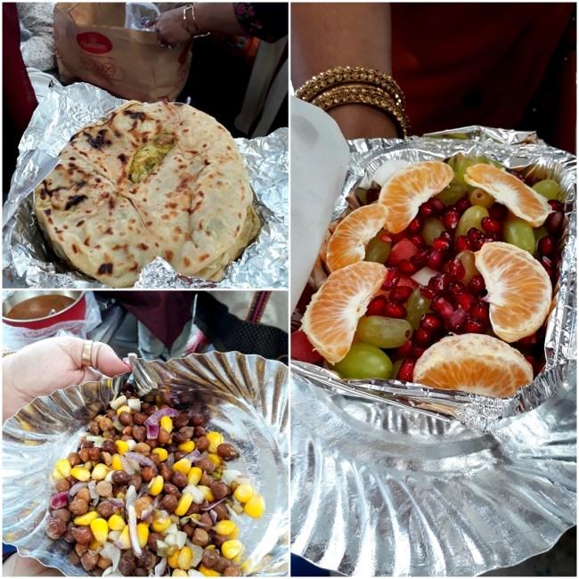 Aloo Paratha, Lentil Salad, Fruit Salad