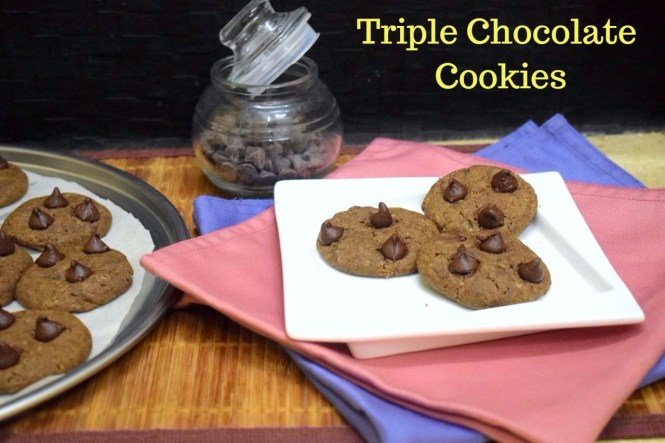 Eggless Triple Chocolate Chip Cookies