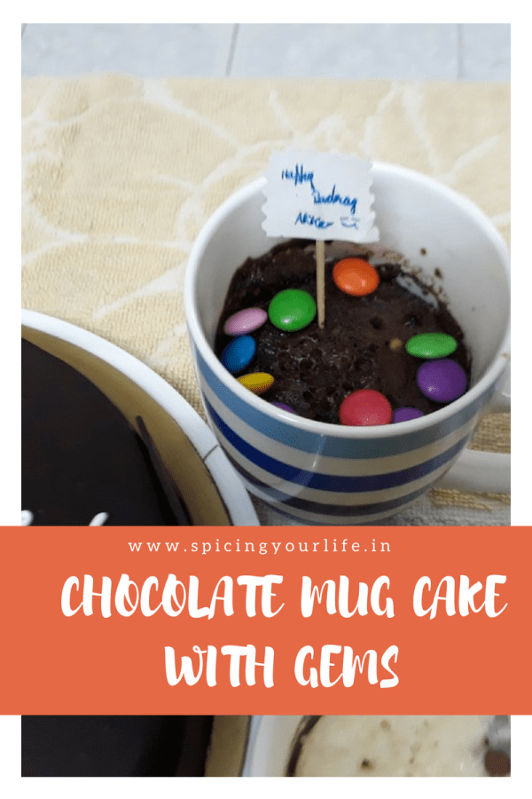 Chocolate Mug Cake with Gems
