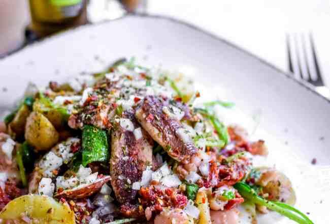Rezept Sommer Mediterraner Kartoffelsalat Salat Fisch Sardinen Spicy Love Foodblog