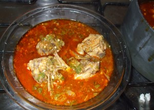 chicken, anchovies and okro soup