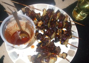 heart and liver kebab with very hot peper sauce
