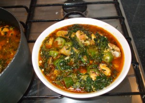 mixed vegetable and duck soup