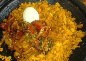 otor [mashed plantain with palm oil] and koobi stew