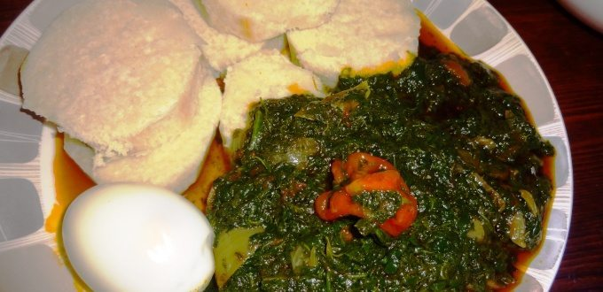 Boiled Yam with kontonmire stew and egg