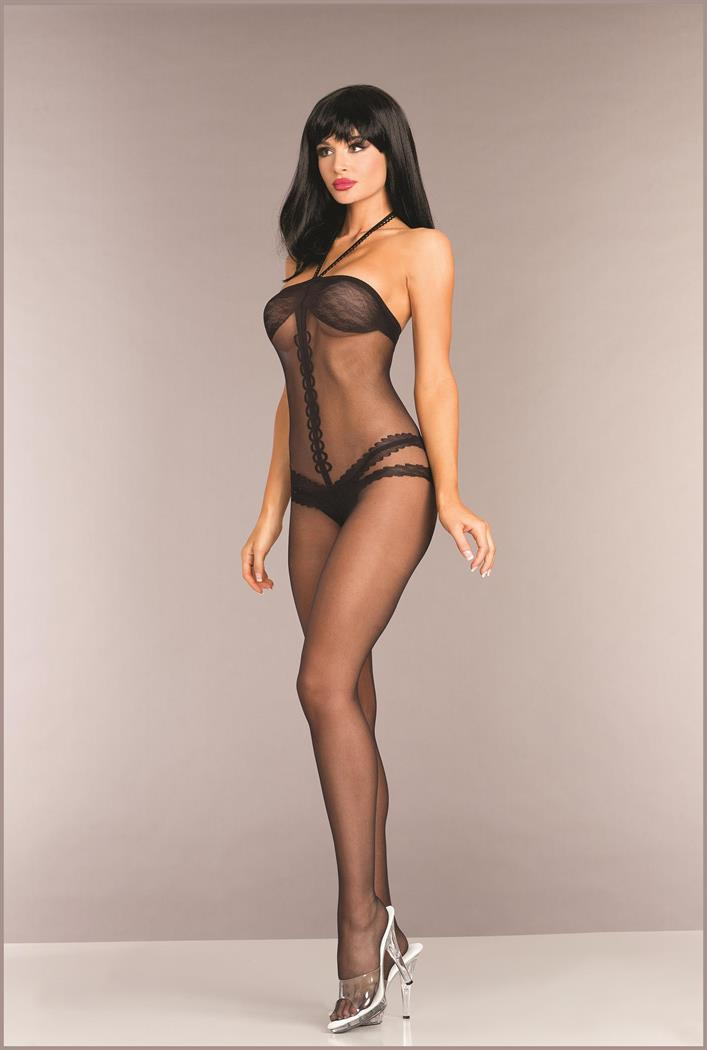 Opaque Halterneck Crotchless Bodystocking