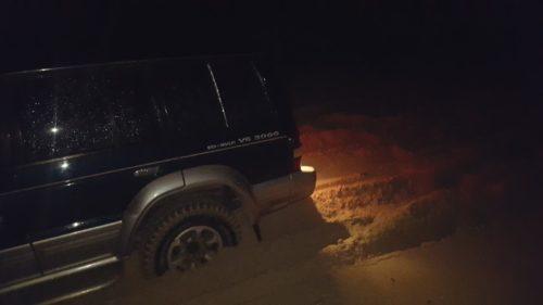 festgefahren in sehr weichem Sand