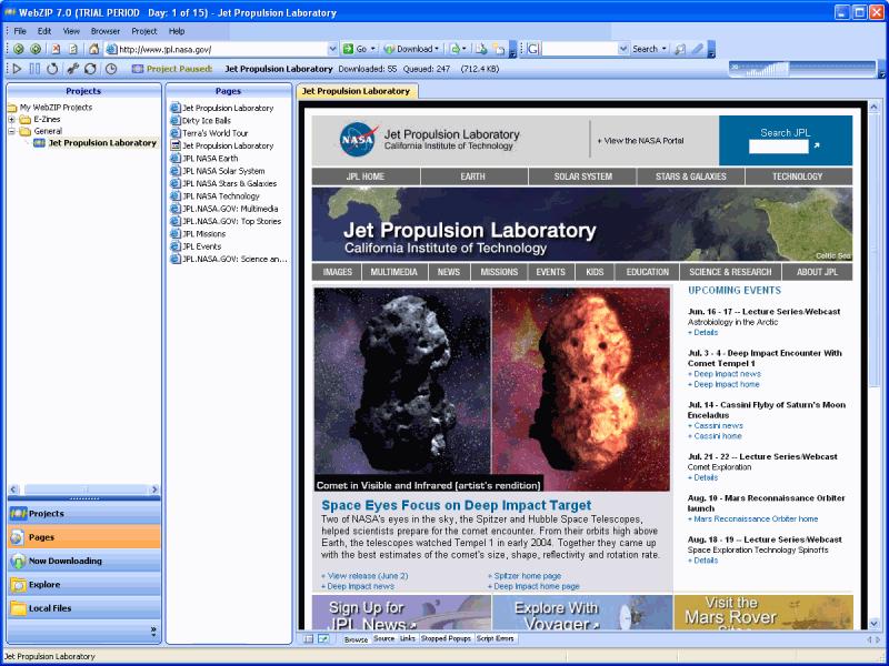 WebZIP Offline Browser - screenshot