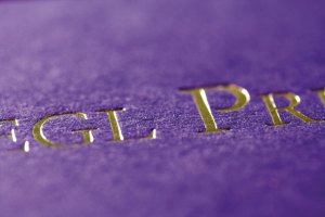 gold foil blocked business card. Purple Colorplan from GF Smith
