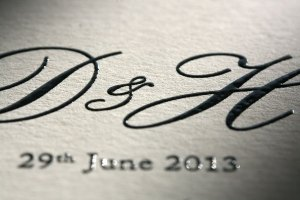 bespoke thermographed wedding stationery